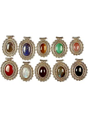 Lot of Ten Oval Gemstone Pendants<br>(Labradorite, Lapis Lazuli, Tiger Eye, Malachite, Rose Quartz, Carnelian, Rainbow Moonstone, Amethyst, Labradorite & Black Onyx)