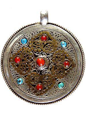 Nepali Filigree Double-sided Gemstone Mandala Pendant (Coral Turquoise and Lapis Lazuli)