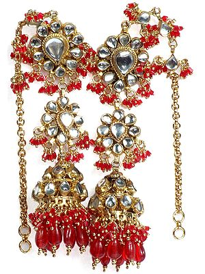 Red Earwrap Kundan Umbrella Earrings with Glass Beads