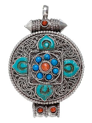Gau Box Mandala Filigree Pendant with Coral and Turquoise - Made in Nepal