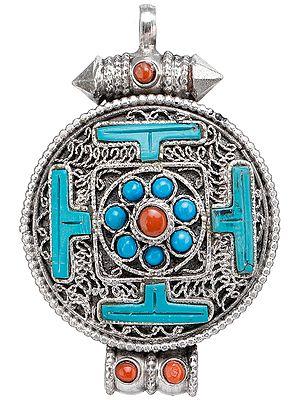 Gau Box Mandala Filigree Pendant with Coral and Turquoise