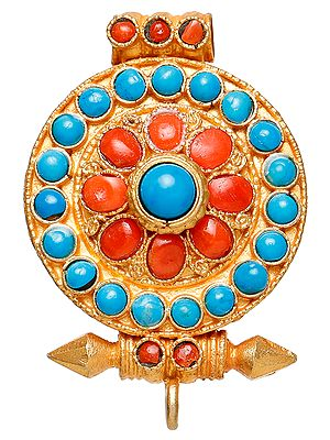 Gau Box Gold Plated Pendant with Coral and Turquoise