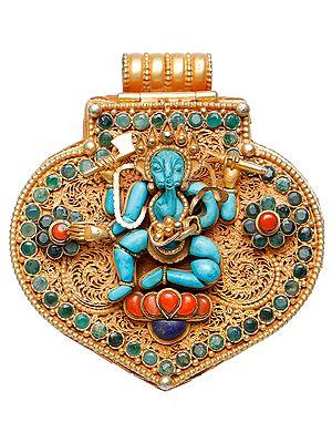 Lord Ganesha Gau Box Pendant with Green Tara Inside  (Coral, Lapis Lazuli, Emerald Work)