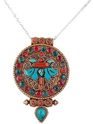 Gold Plated Filigree Gau Box Pendant with Ruby Coral and Turquoise from Nepal