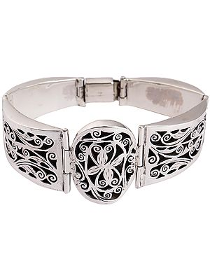 Fine Engraved Floral Design Cuff Bracelet with Lock Closure