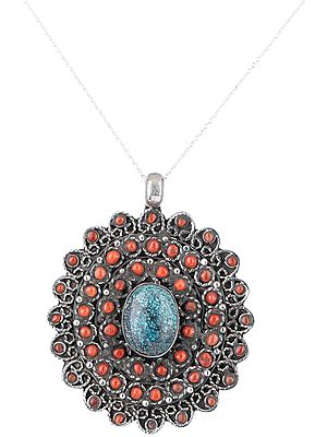 Multi-Stone Sterling Silver Pendant with Gemstones from Nepal