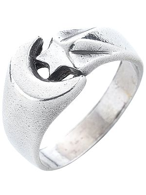 Crescent Moon and Star Sterling Silver Ring