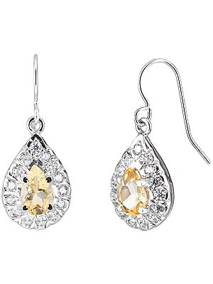 Sterling Silver Earrings Studded with Semi-Precious Gemstones