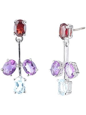 Tri-Color Sterling Silver Earrings Studded with Faceted garnet, Amethyst and Blue-Topaz Gemstones