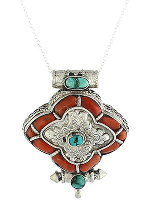Filigree Box Pendant with Coral and Turquoise