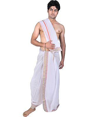 Plain Dhoti and Angavastram Set with Woven Border