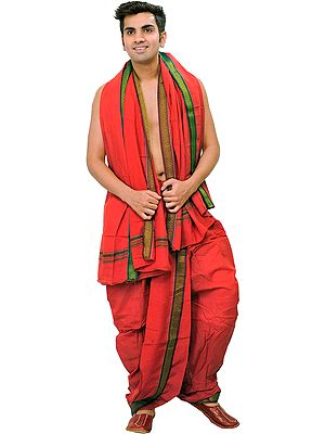 Ready to Wear Dhoti and Angavastram Set with Woven Temple Border