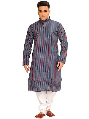 Casual Kurta Pajama Set with Printed Stripes and Straight Stitch