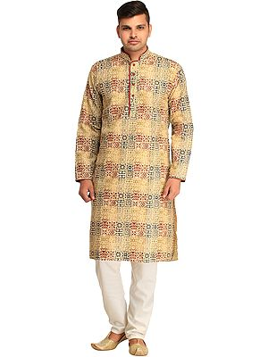 Casual Kurta Pajama Set with Heiroglyphic Print