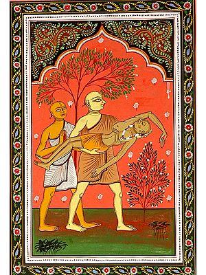 Chaitanya Mahaprabhu Taking His Ailing Father on the Banks of Ganga