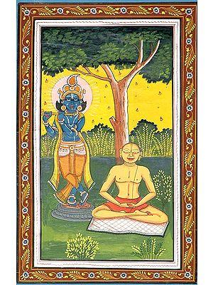 Meditating Chaitanya Mahaprabhu with Shri Krishna