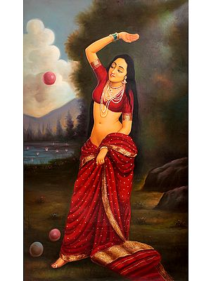 A Young Lady, Perhaps Menaka, Playing with Balls
