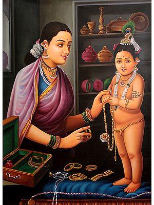 Mother Yashoda Adorns Her Baby Gopala