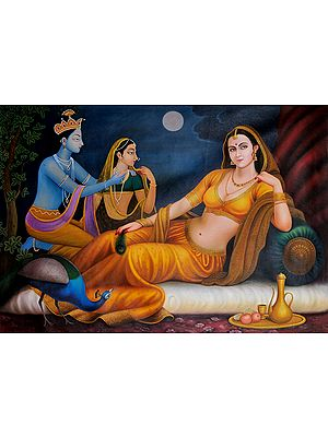 Beauteous Woman Kept Waiting By Her Lover On A Full-Moon Night
