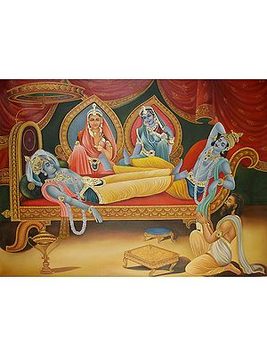 Shri Krishna, Arjuna, Draupadi and Subhadra (from the Mahabharata)