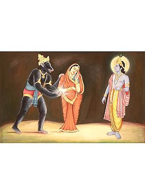 Jambavant Offers His Daughter and Shyamantaka Gem to Shri Krishna (Shrimad Bhagavata Purana 10.57)