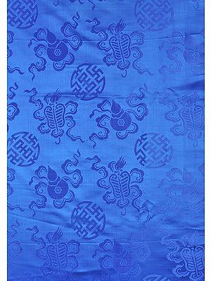 Regatta-Blue Fabric from Banaras with the Eight Symbols of Good Fortune (Tib. Bkra-shis rtags-brgyad, Skt. Ashtamangala)