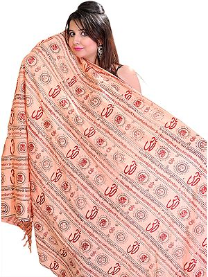 Pink Om Prayer Shawl with Printed Gayatri Mantra