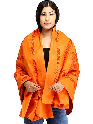 Autumn-Sunset Lord Ayyappan South Indian Prayer Shawl from Tamil Nadu with Printed Mantra