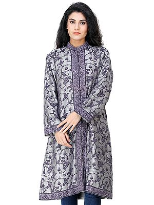 Silver Long Jacket from Kashmir with Hand-Ari Embroidered Flowers All-Over