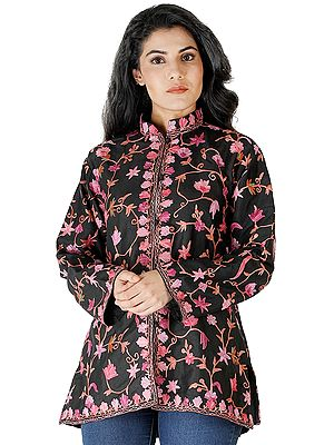 Jet-Black Short Jacket from Kashmir with Chain Stitch Embroidered Flowers All-Over