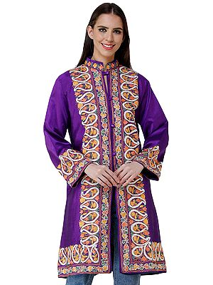 Royal-Purple Long Silk Jacket from Kashmir with Chain-stitch Embroidered Paisleys and Flowers