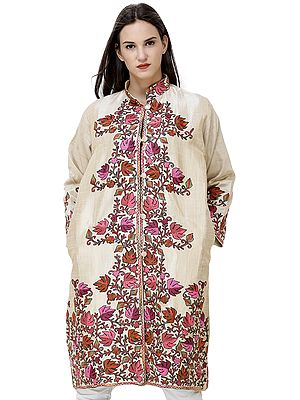Pearled-Ivory Long Silk Jacket from Kashmir with Chain stitch Embroidered Chinar Leaves