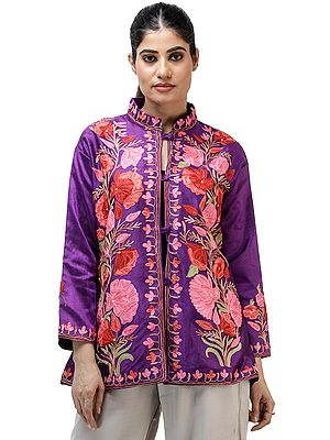 Royal-Purple Silk Jacket from Kashmir with Chain-stitch Embroidered Big Flowers