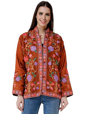 Copper-Brown Silk Jacket from Kashmir with Vibrant Chain-stitch Embroidered Flowers