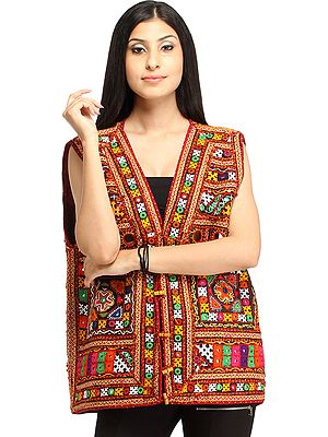 Multicolor Waistcoat from Kutch with Embroidery All-Over and Mirrors