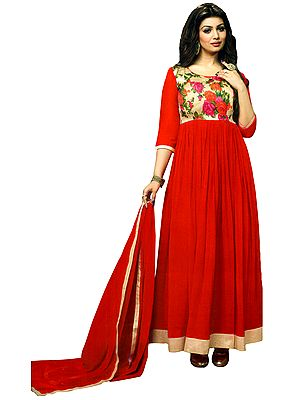 Anarkali Suit with Printed Flowers and Solid Ghagra