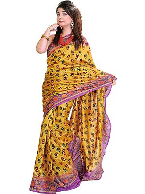 Sunflower Yellow and Violet Sari with Kantha Stitched Embroidery and Sequins
