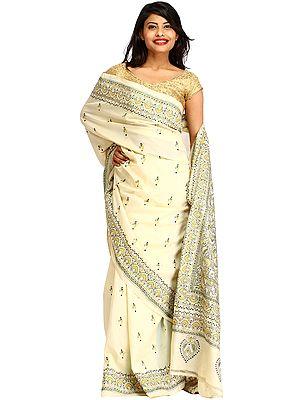 Cream Kantha Hand-Embroidered Sari from Kolkata with Bootis