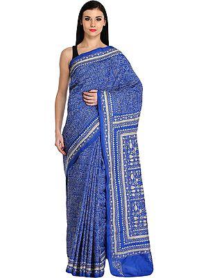 Strong-Blue Warli Sari from Kolkata with Dense Kantha-Embroidery by Hand