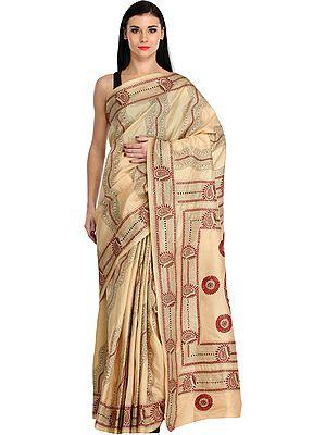 Almond-Buff Sari from Kolkata with Kantha Hand-Embroidered Paisleys and Giant Mandala