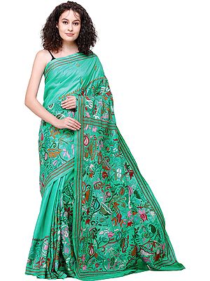 Waterfall Sari from Bengal with Kantha-Embroidered Flowers All-Over