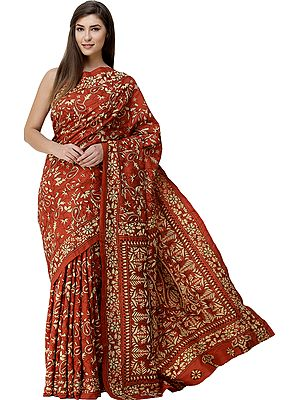 Burnt-Ochre Sari from Bengal with Dense Kantha Hand-Embroidered Flowers All-Over