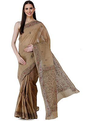 Incense-Brown Sari from Bengal with Kantha Hand-Embroidery on Border and Pallu