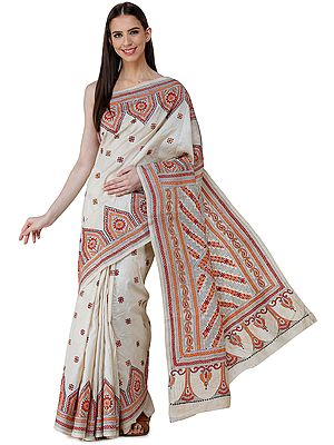Bleached-Sand Pure Silk Sari from Bengal with Kantha Hand-Embroidered Flowers and Heavy Pallu