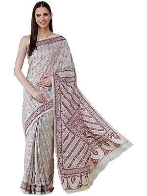 Winter-White Pure Silk Sari from Bengal with Kantha Hand-Embroidered Motifs and Heavy Pallu