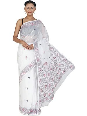 Bright-White Sari from Bengal with Kantha Hand-Embroidery on Border and Pallu