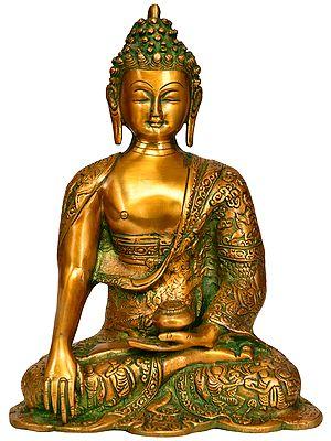 Tibetan Buddhist Lord Buddha in Bhumisparsha Mudra with Life Scenes Carved on Robe