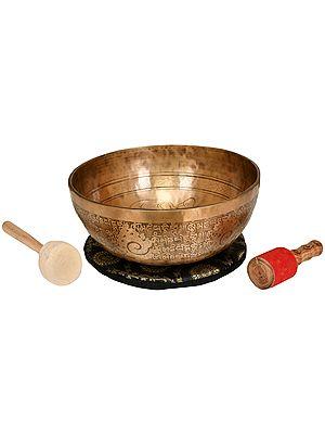 Tibetan Buddhist Superfine Hand Hammered Singing Bowl Inside The Figure of Buddha