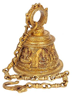 Temple Hanging Bell with Images of Lord Shiva, Hanuman, Ganesha, Goddess Lakshmi, Durga and Radha Krishna