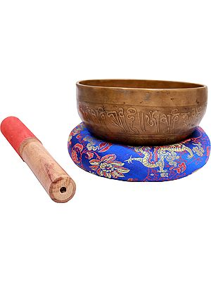 Tibetan Buddhist Singing Bowl with Tantric Grid